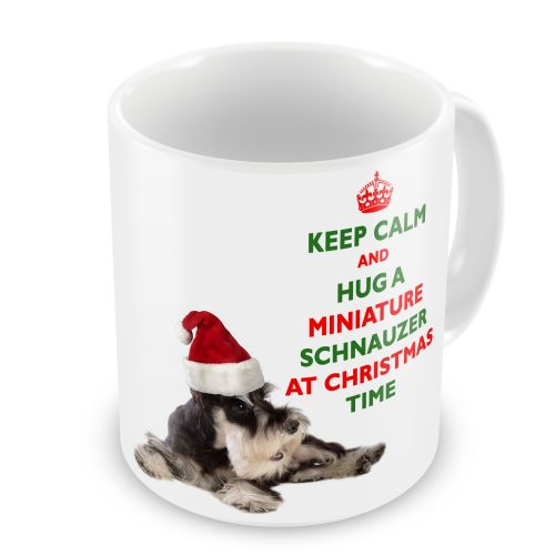 Christmas Keep Calm And Hug A Miniature Schnauzer Novelty Gift Mug
